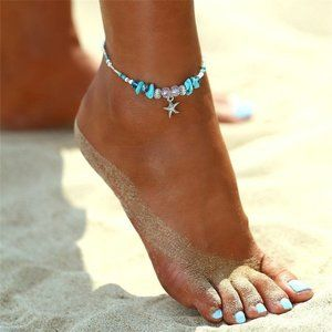 NEW Blue Bohemian Beaded Starfish Ankle Br…